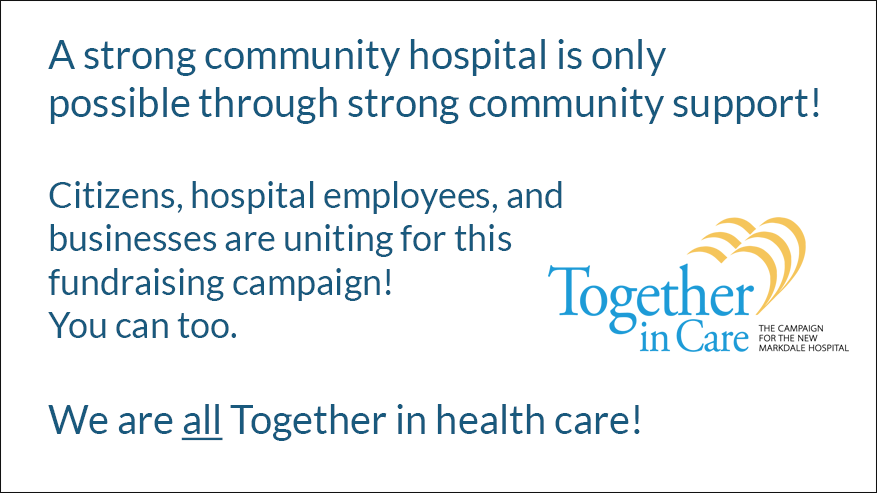 A strong community hospital is only possible through strong community support message